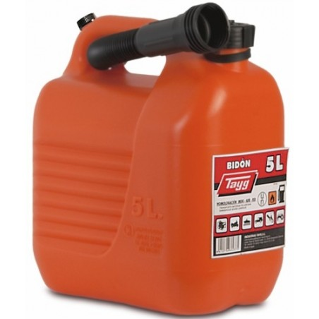 Bidon Trasvase Liquido  Carburante 230X145X257Mm 5Lt Con Canula Plastico Rojo Tayg