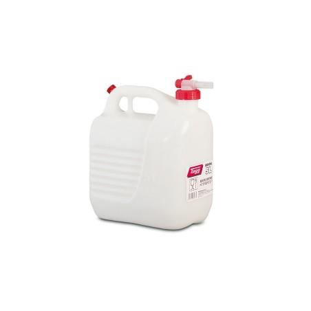 Bidon Trasvase Liquido  Alimentario 230X145X257Mm 5Lt Tapon/Grifo Plastico BlancoTayg