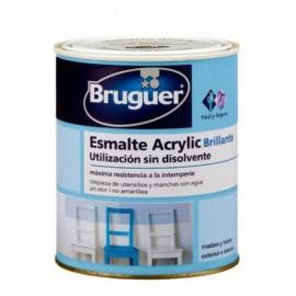 Esmalte Acrilico Brillante 750 Ml Negro Interior/Exterior  Sin Olor Bruguer