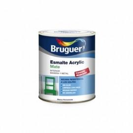 Esmalte Acril Mate 750 Ml Blanco/Permanente Interior/Exterior  Sin Olor Bruguer