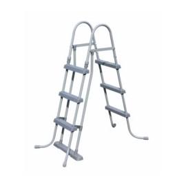 Escalera Piscina  107 Cm Peldaño Plastico Bestway Tubo Galvanizado 58330