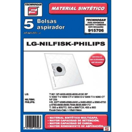 Bolsa Aspirador Papel Lg-Nilfisk-Philips Thogar 5 Pz 915706