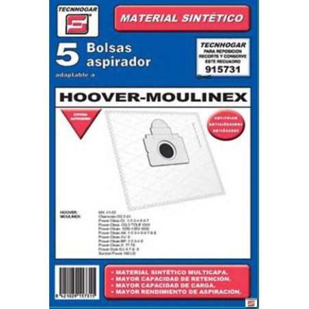 Bolsa Aspirador Papel Hoover-Moulinex Thogar 5 Pz 915731