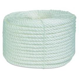 Cuerda Torcida 10Mm Polipropileno Blanco  4 Cabos Hyc 100 Mt