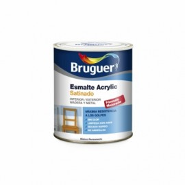 Esmalte Acrilico Satinado  750 Ml Gris/Aire Interior/Exterior  Sin Olor Bruguer