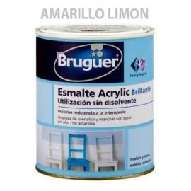 Esmalte Acrilico Brillante 250 Ml Amarillo /Lima Interior/Exterior  Sin Olor Bruguer