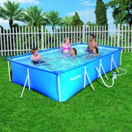 Piscina Pvc Rectangular 400X211X81Cm Cartucho 5700Lt Splash Fp