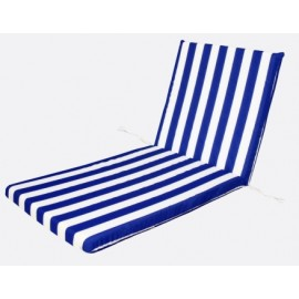 Cojin Tumbona Monoblock 120X50X5Cm Blanco/Azul Teplas