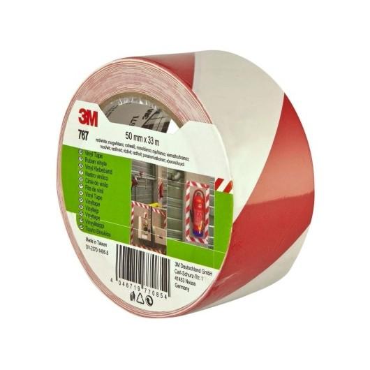 Cinta Adhesiva 50Mmx 33Mt Señalizacion Vinilo Rojo/Blanco 764 3M