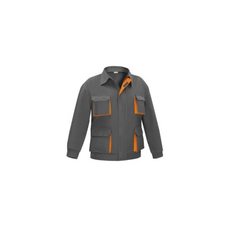 Cazadora Trabajo T56 100%Algodon Multibolsillos Gris/Naranja Cargo Vesin