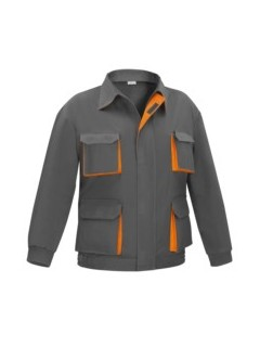 Cazadora Trabajo T60 100%Algodon Multibolsillos Gris/Naranja Cargo Vesin