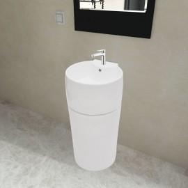 Lavabo de pie redondo de cerámica hueco de grifo/desagüe blanco
