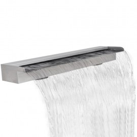 Fuente rectangular de acero inoxidable para piscina, 150 cm