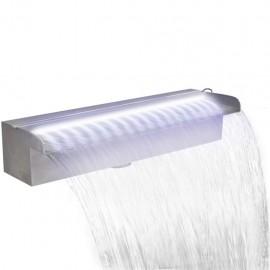 Fuente cascada rectangular LED para piscina acero inoxidable 45 cm