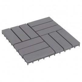 Baldosas de terraza 10 uds gris madera maciza acacia 30x30 cm
