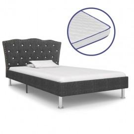 Cama con colchón viscoelástico tela gris oscura 90x200 cm
