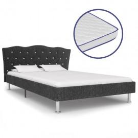 Cama con colchón viscoelástico tela gris oscuro 120x200 cm