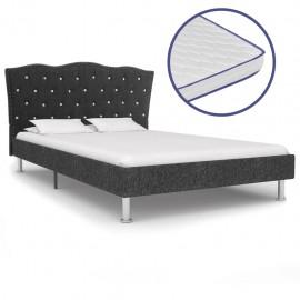Cama con colchón viscoelástico tela gris oscuro 140x200 cm