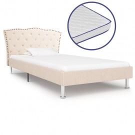 Cama con colchón viscoelástico tela color lino 90x200 cm