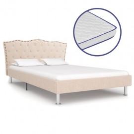 Cama con colchón viscoelástico tela color lino 140x200 cm