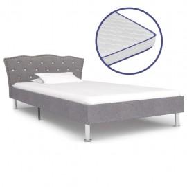 Cama con colchón viscoelástico tela gris claro 90x200 cm