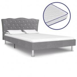Cama con colchón viscoelástico tela gris claro 120x200 cm
