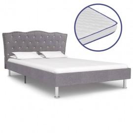 Cama con colchón viscoelástico tela gris claro 140x200 cm