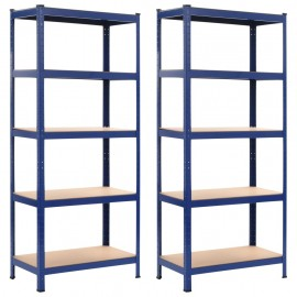 Estanterías 2 unidades azul 80x40x180 cm acero y MDF