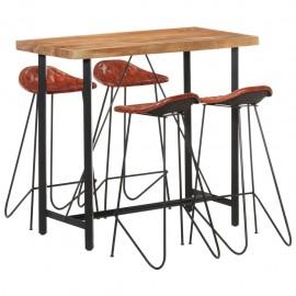Muebles de bar 5 piezas madera maciza sheesham cuero auténtico