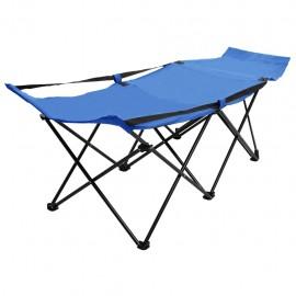 Catre camilla plegable de camping acero azul