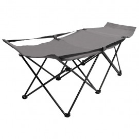 Catre camilla plegable de camping acero gris