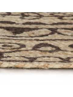 Alfombra de yute tejida a mano estampado marrón oscuro 120 cm