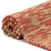 Alfombra hecha a mano de yute rojo y natural 120x180 cm