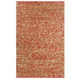 Alfombra hecha a mano de yute roja y natural 160x230 cm