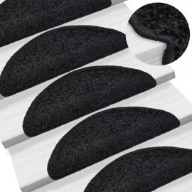 Alfombrillas de escalera 15 unidades negro 65x25 cm