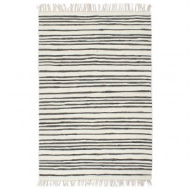 Alfombra hecha a mano Chindi algodón antracita blanco 200x290cm