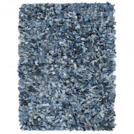 Alfombra peluda de tela vaquera 160x230 cm azul