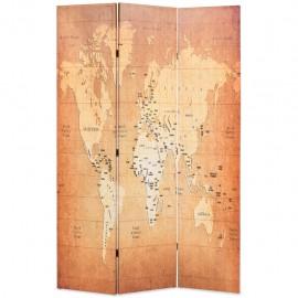 Biombo divisor plegable 120x170 cm mapamundi amarillo