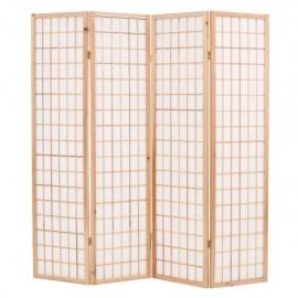 Biombo plegable con 4 paneles estilo japonés 160x170 cm natural