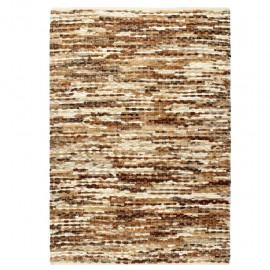Alfombra de cuero genuino peludo marrón/blanco 160x230 cm