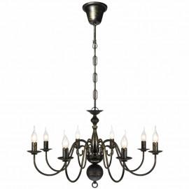 Lámpara de araña antique metal negro 8 bombillas E14