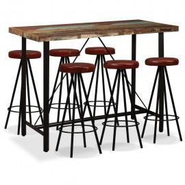 Set muebles de bar 7 pzas madera maciza reciclada cuero genuino