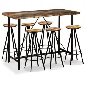 Set de muebles de bar 7 piezas madera reciclada