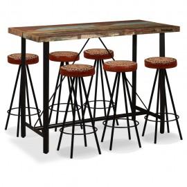 Mesa y 6 taburetes bar madera maciza reciclada cuero real lona