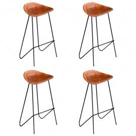 Sillas altas de bar 4 unidades cuero auténtico marrón