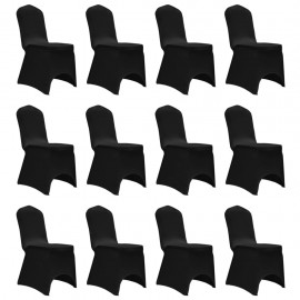 Funda de silla elástica 12 unidades negra