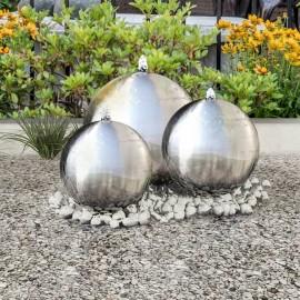 Fuentes de jardín esféricas 3 unidades con LED acero inoxidable