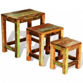 Set de 3 mesitas apilables vintage de madera maciza reciclada