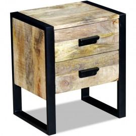 Mesa auxiliar con 2 cajones madera maciza de mango 43x33x51 cm