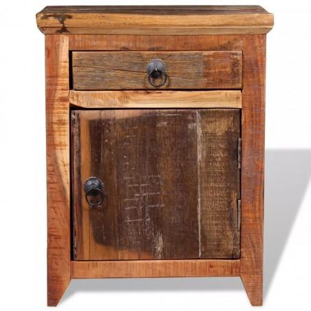 Mesita de noche madera maciza de acacia y durmientes de madera